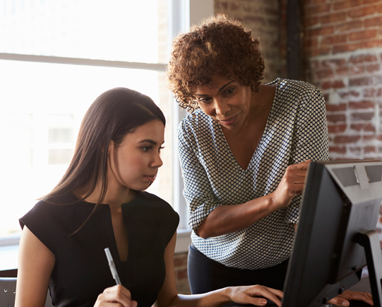 Women looking at computer monitor