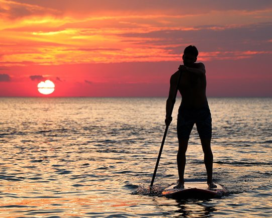 Paddleboarder on the ocean